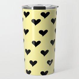 Retro Hearts Pattern Pastel Yellow Travel Mug
