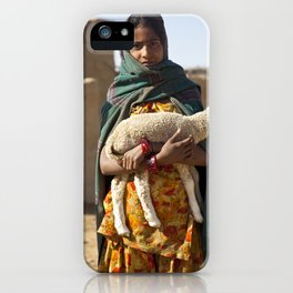 Girl with lamb  iPhone Case