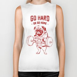 Go Hard Or Go Home Pug In Red Biker Tank