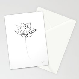 One line Lotus B&W Stationery Cards