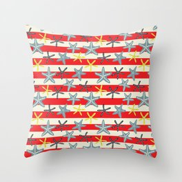 Sea Stars and Stripes Throw Pillow