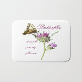Butterflies Come To Pretty Flowers Korean Proverb Bath Mat