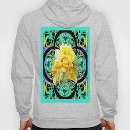 Yellow Rose Aqua Color Floral Gems Design Hoody