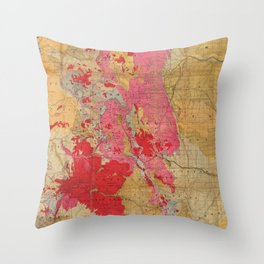 Vintage Geological Map of Colorado (1879) Throw Pillow
