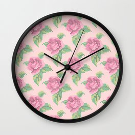 Cross Stitch Rose Pattern in pink Wall Clock
