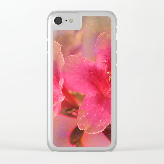 Flowers in a golden glow Clear iPhone Case