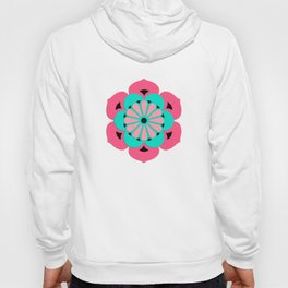 Lotus Flower Mandala, Coral Pink and Turquoise Hoody