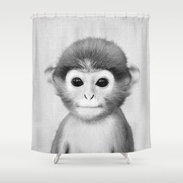 Baby Monkey - Black & White Shower Curtain