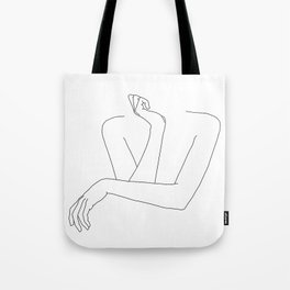 Minimal line drawing of woman's folded arms - Anna Tote Bag