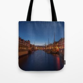 Early evening lights on the Nyhavn Tote Bag