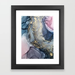 Blush, Payne's Gray and Gold Metallic Abstract Framed Art Print