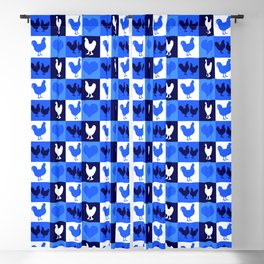 Blue and White American Chickens Gingham Blackout Curtain