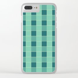 PLAID, TEAL AND SEAFOAM Clear iPhone Case