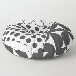 Abstract Geometric Circle Pattern Black and White Floor Pillow