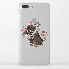 Vaping Rat Illustration | Rattus Vape Vermin Clear iPhone Case