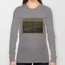 Vintage Pictorial Map of Saginaw Michigan (1867) Long Sleeve T-shirt