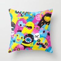 monsters Throw Pillows featuring Monsters by Lienke Raben