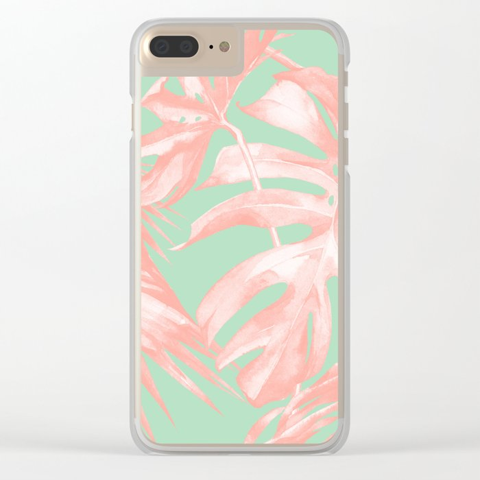 Island Love Seashell Pink + Mint Green Clear iPhone Case