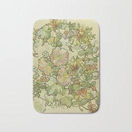 "Alphonse Mucha ""Printed textile design with hollyhocks in foreground"" Bath Mat"