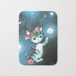Space Witch Cat handcut collage Bath Mat