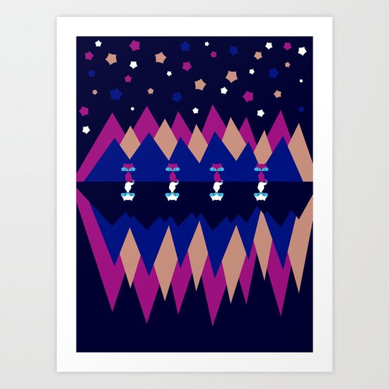 Foxes and shadows Art Print