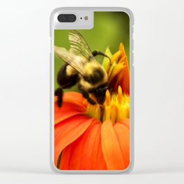 Mexican Sunflower Bumblebee Clear iPhone Case
