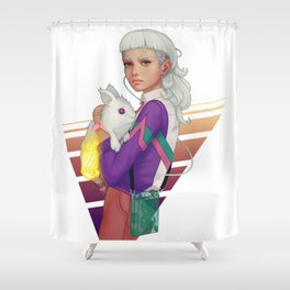 Follow the White Rabbit Shower Curtain