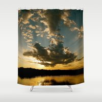 fishing Shower Curtains featuring Fishing Sundown by Layton Zimmages