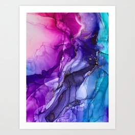 Abstract Vibrant Rainbow Ombre Art Print
