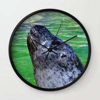 seal Wall Clocks featuring seal by  Agostino Lo Coco