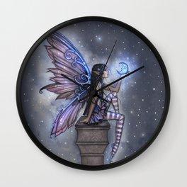 Little Blue Moon Fairy Art by Molly Harrison Wall Clock