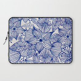 Hand painted royal blue white watercolor floral illustration Laptop Sleeve