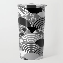 Nature background with japanese sakura flower, Cherry, wave circle Black gray white colors Travel Mug