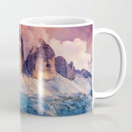 Majestic foggy view of the National Park Tre Cime di Lavaredo Coffee Mug
