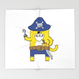 Pirate Meow Throw Blanket