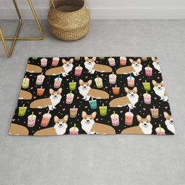 corgi boba tea bubble tea cute kawaii dog breed fabric welsh corgis dog gifts Rug