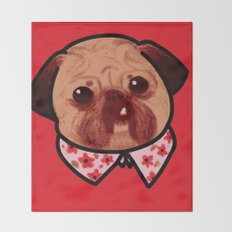 Toofy Pug  Throw Blanket