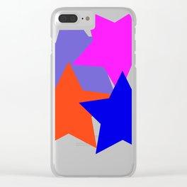 Kids 4 Stars Blue Pink Blue Grey Orange Stylish Design DBK4K Clear iPhone Case