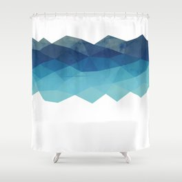 Fractal blue geometry Shower Curtain