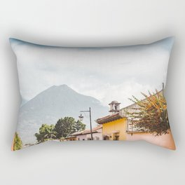 Colorful houses of a street in Antigua Guatemala with volcano views Rectangular Pillow