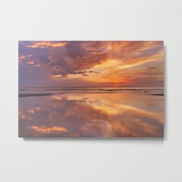 Sunset reflections on the beach, Texel island, The Netherlands Metal Print