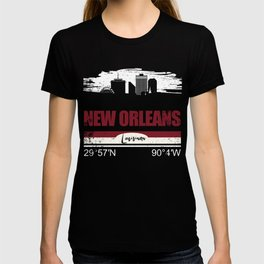 Cool New Orleans T-Shirt With GPS Coordinates T-shirt