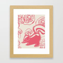 skunk with mushrooms Framed Art Print