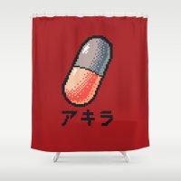 akira Shower Curtains featuring Akira - What a pill ? by AmaSan