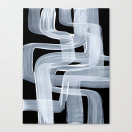 Ghostly Minimalist Abstract Painting Black And White Maze Brush Strokes Canvas Print