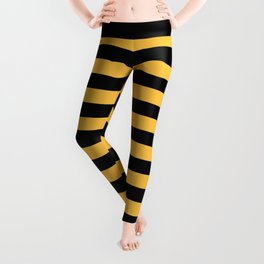 Yellow and Black Bumblebee Stripes Leggings