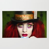 mad hatter Area & Throw Rugs featuring The Mad Hatter by María Lawliet