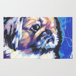 Fun Pekingese Dog Portrait bright colorful Pop Art Rug
