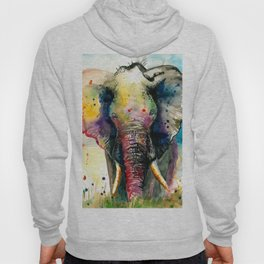 RAINBOW ELEPHANT WATERCOLOR Hoody