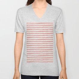 Pink Drawn Stripes Unisex V-Neck